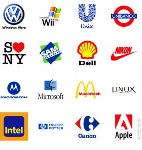 Brincadeira com marcas, logotipos, logomarcas, símbolos.