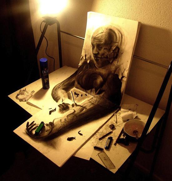 Desenho com efeito 3D feito a lapis, artista Fredo (3)