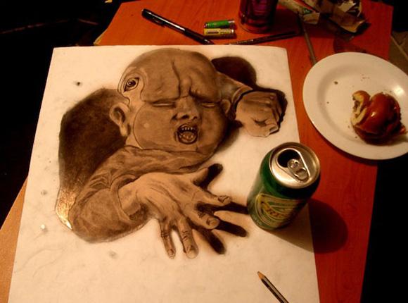 Desenho com efeito 3D feito a lapis, artista Fredo (1)