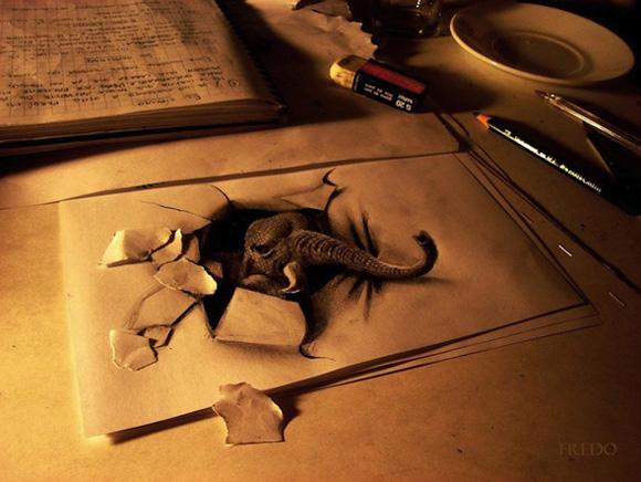 Desenho com efeito 3D feito a lapis, artista Fredo (16)