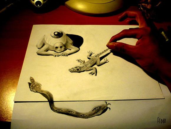 Desenho com efeito 3D feito a lapis, artista Fredo (14)