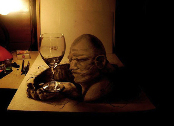 Desenho com efeito 3D feito a lapis, artista Fredo (13)