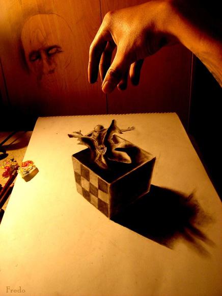 Desenho com efeito 3D feito a lapis, artista Fredo (12)