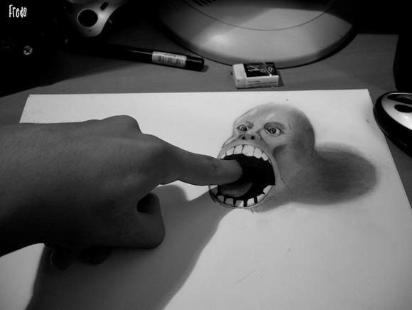 Desenho com efeito 3D feito a lapis, artista Fredo (10)