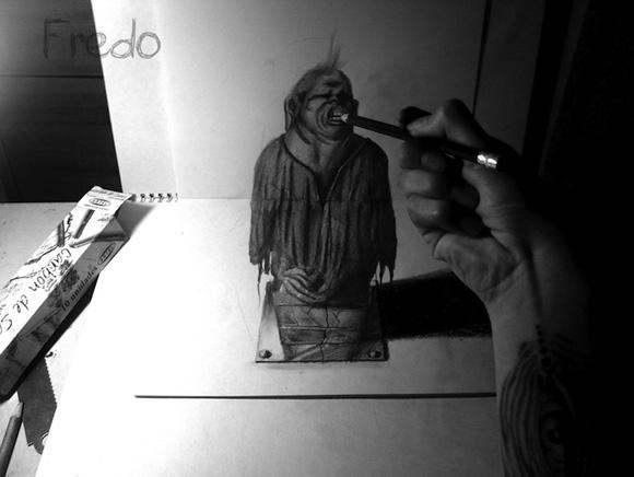 Desenho com efeito 3D feito a lapis, artista Fredo (9)