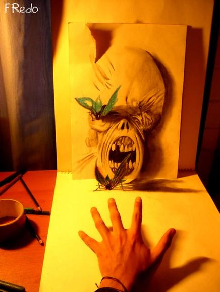 Desenho com efeito 3D feito a lapis, artista Fredo (8)