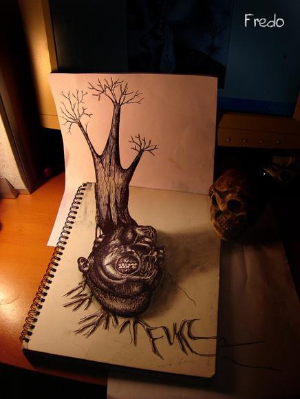 Desenho com efeito 3D feito a lapis, artista Fredo (7)