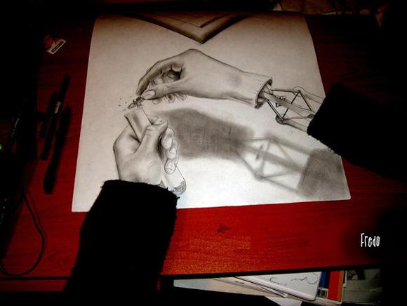 Desenho com efeito 3D feito a lapis, artista Fredo (6)