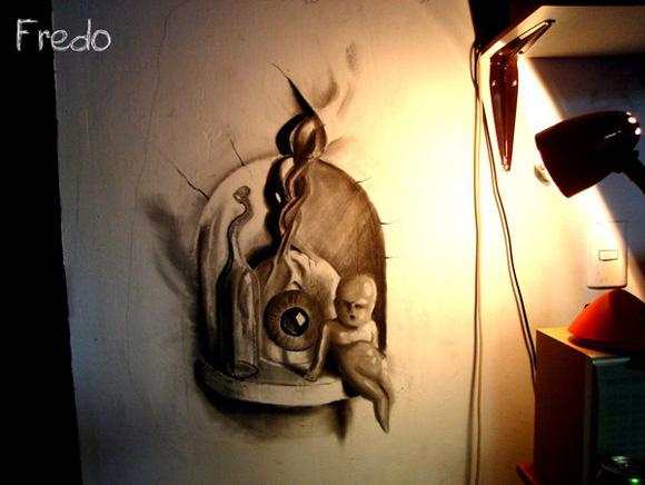 Desenho com efeito 3D feito a lapis, artista Fredo (5)