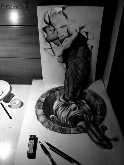 Desenho com efeito 3D feito a lapis, artista Fredo (4)