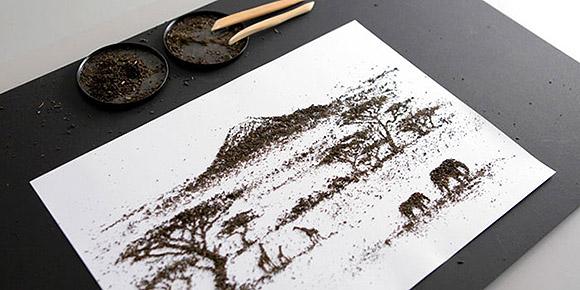 Ilustrações feitas com chá.