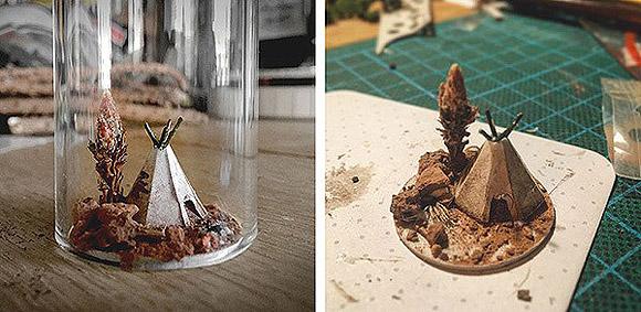 Dioramas em tubos de ensaio feitos por Rosa de Jong